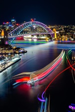 Preview iPhone wallpaper Sydney, beautiful city night view, lights, Opera House, Australia