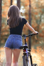 Preview iPhone wallpaper T-shirt girl back view, bike, trees