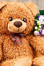 Preview iPhone wallpaper Teddy, toy bear, flowers