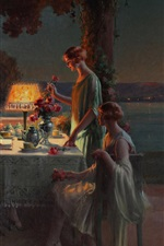 Preview iPhone wallpaper The tea party, evening, young women, art painting