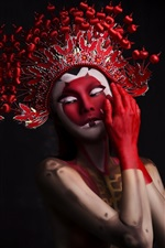 Preview iPhone wallpaper Two girls, makeup, headwear, Chinese Opera style