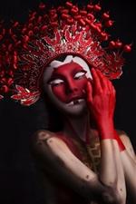 Duas meninas, maquiagem, chapelaria, estilo da ópera chinesa