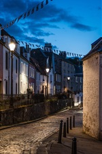 Preview iPhone wallpaper United Kingdom, Scotland, South Queensferry, city, houses, road, lights, night