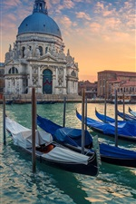 Preview iPhone wallpaper Venice, Grand Canal, boats, cathedral, Italy