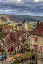 Preview iPhone wallpaper Village, houses, cars, mountains, HDR style