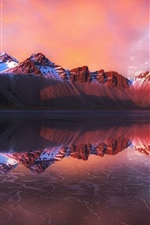 Preview iPhone wallpaper Water reflection, mountains, sea, dusk, Iceland