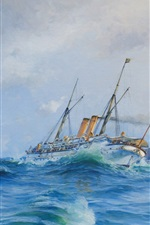 Preview iPhone wallpaper Watercolor painting, sea waves, battleship, ocean