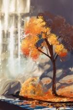 iPhone обои Акварель, деревья, водопад, осень