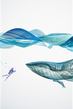 Preview iPhone wallpaper Whale, waves, underwater, abstract design