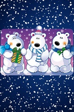 Preview iPhone wallpaper White bears, snowy, art picture