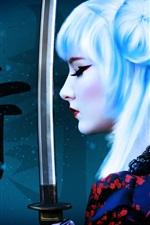 White hair girl, katana, weapon, art picture