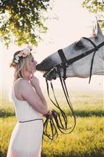 Preview iPhone wallpaper White skirt girl kiss horse
