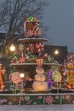 Winter, holiday, lights, snow, trees, fountain, night