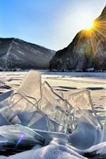 Winter, ice, mountains, frozen river, sun rays