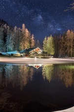 Preview iPhone wallpaper Winter, lake, house, trees, forest, snow, night, starry