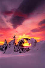 Preview iPhone wallpaper Winter, morning, snow, trees, clouds, sky, sunrise