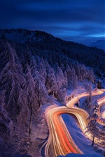 Preview iPhone wallpaper Winter, night, forest, snow, curved road, lights