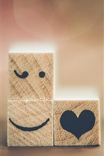 Preview iPhone wallpaper Wood cubes, emoticons