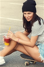 Preview iPhone wallpaper Young girl, shorts, ground, cocktail, skateboard