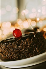 Preview iPhone wallpaper A piece of chocolate cake, dessert, cherry