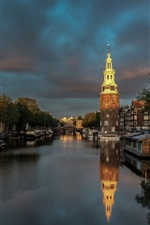Preview iPhone wallpaper Amsterdam, Netherlands, night, river, boats, clouds, city