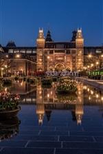iPhone fondos de pantalla Amsterdam, Rijksmuseum, Países Bajos, noche, luces, tulipanes