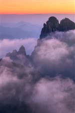 iPhone fondos de pantalla Anhui, Huangshan, China, montañas, niebla, mañana, salida del sol