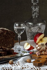 Preview iPhone wallpaper Apple, bread, vodka, sausage, nuts, food