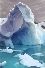 Preview iPhone wallpaper Arctic, iceberg, ice, water, art drawing