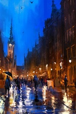 Preview iPhone wallpaper Art painting, Poland, street, rainy, night, people, lamp, buildings