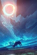 Art painting, deer, moon, night