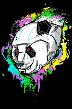 Preview iPhone wallpaper Art picture, panda, robot, black background
