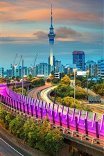 Preview iPhone wallpaper Auckland, New Zealand, roads, lights, tower, night
