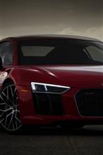 iPhone壁紙のプレビュー アウディ赤いスポーツカーの正面図、夕暮れ