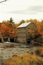 Autumn, bridge, trees, river, house, Manotick, Ottawa, Canada