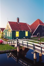 Preview iPhone wallpaper Beautiful Netherlands, river, bridge, houses, windmills