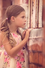 Preview iPhone wallpaper Beautiful child girl look out window, skirt, summer