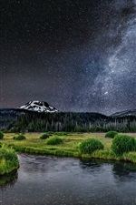 Preview iPhone wallpaper Beautiful nature landscape, river, grass, trees, milky way, stars, mountains