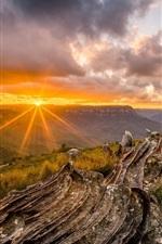 Preview iPhone wallpaper Beautiful sunset landscape, clouds, grass, mountain top