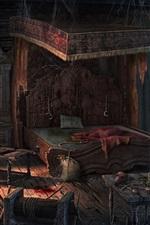 Preview iPhone wallpaper Bedroom, terror, blood, bed