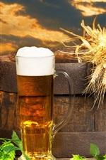Preview iPhone wallpaper Beer, barrel, hops, foam