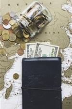 Preview iPhone wallpaper Binoculars, world map, purse, dollars