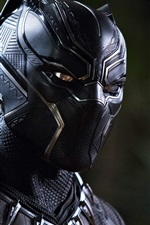 Preview iPhone wallpaper Black Panther, uniform, mask
