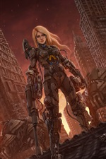 Preview iPhone wallpaper Blonde girl, robot, skyscrapers, fiction, art picture