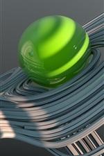 Bolas azuis e verdes, curvas, design 3D