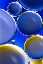 Blue and yellow bubbles, circles