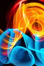 Curvas azuis e fogo, abstratas