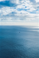 Preview iPhone wallpaper Blue sea, horizon, ship, sky, clouds