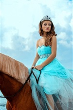 Preview iPhone wallpaper Blue skirt girl riding horse, sea, sky, clouds