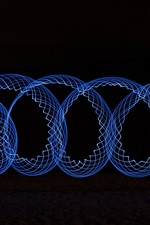 Preview iPhone wallpaper Blue spiral, black background, abstract